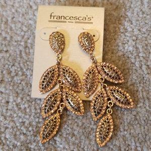 Francesca's pink rhinestone chandelier earings